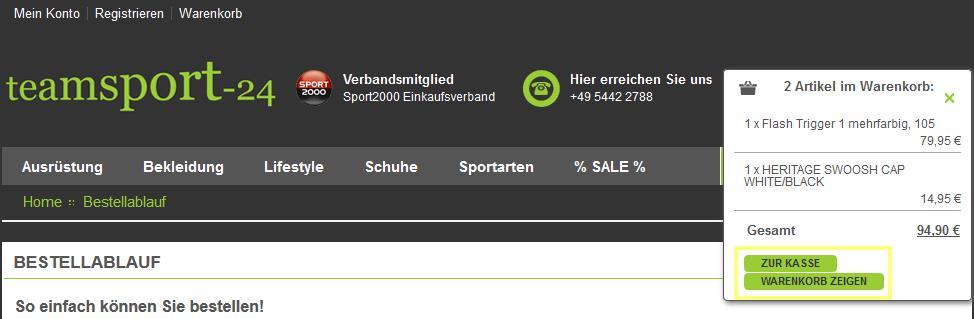 Artikel im Warenkorb bei teamsport24.de