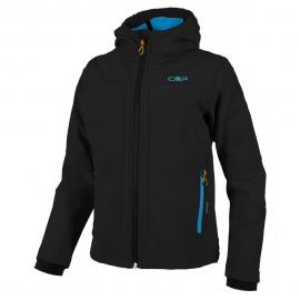 BOY SOFTSHELL JACKET FIX HOOD NERO-CYANO