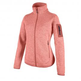 KNITTED MELANGE FLEECE WOMAN JACKET PEACH-FLAMINGO
