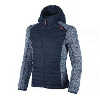 GIRL FIX HOOD HYBRID JACKET B.BLUE-BIANCO