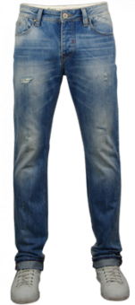 ARIK Men Denim Pant straight fit DARK DENIM-WHITE-TEA